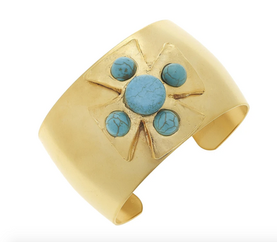 Gold and Turquoise Maltese Cross Cuff Bracelet