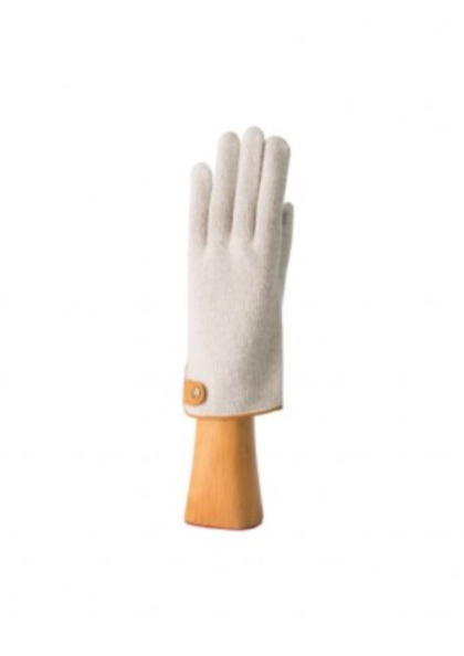 Cashmere Blend Glove with Button and Leather Trim