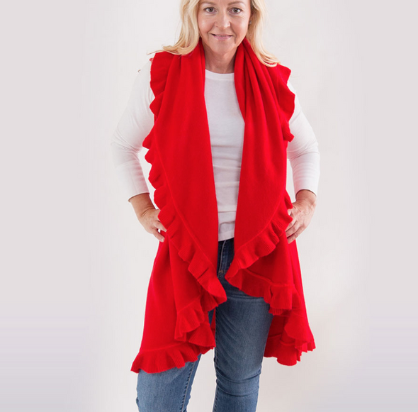 Heidi Kagan 4 Way Shawl Vest w/ Ruffle