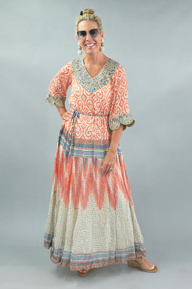 PRINTED CORAL CAFTAN, HAND EMBROIDERED MAXI DRESS w/ MACRAME BEADED BELT