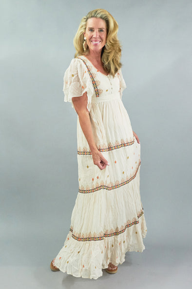 TIE DYE THREAD, TIERED, EMBROIDERED DRESS