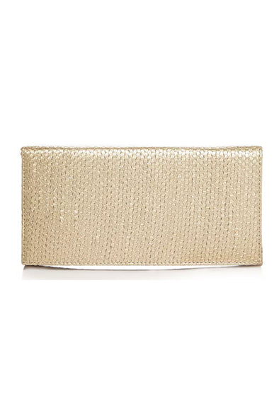 Metallic Gold Embossed Croc Clutch