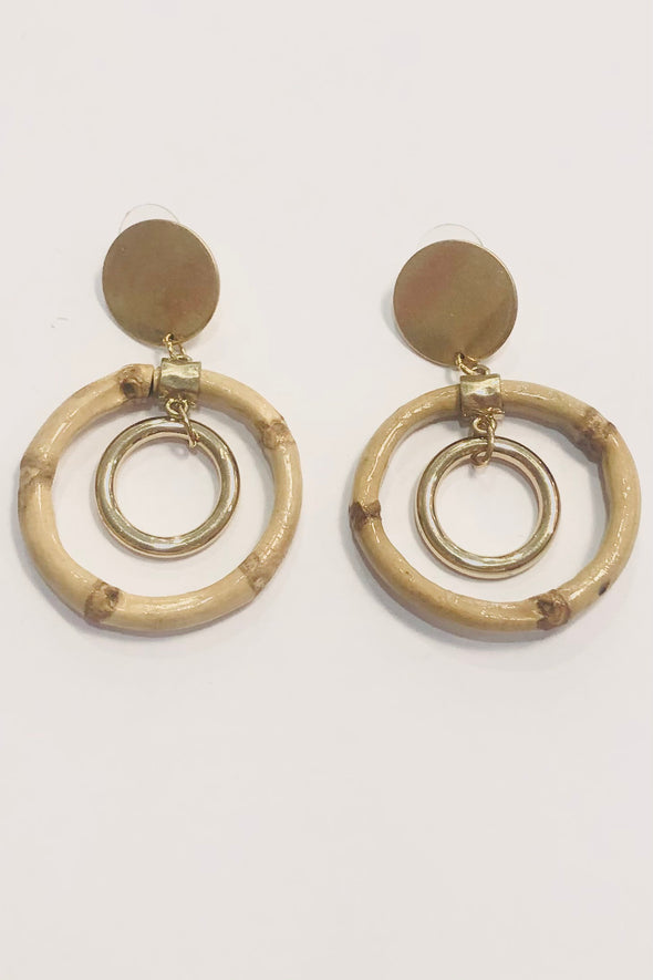 Small Disk and Bamboo Circle Earrings