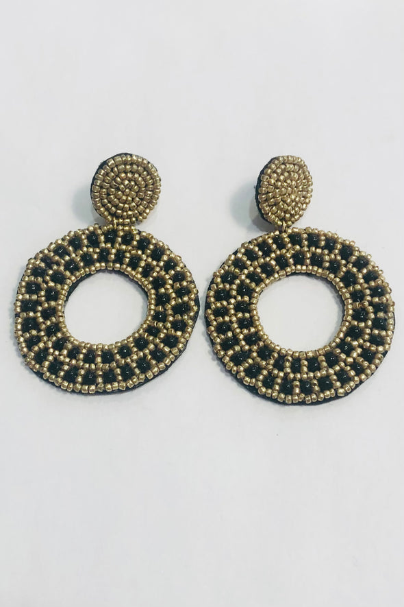 Pannee Black & Gold Beaded Circle Drop Earrings