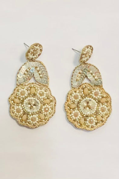 Bead and Sequin Flower Statement Earrings - Ivory