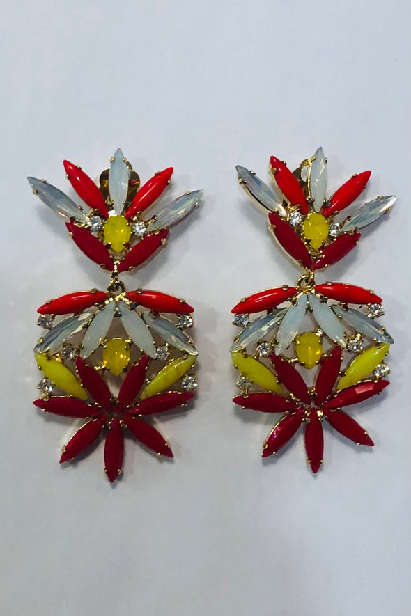 Frangos - Red and Yellow Flower Drop Earring (CLIP ON)