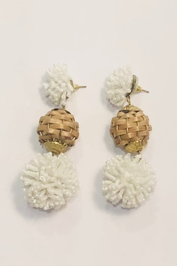 Pannee Rattan & Beaded Ball Drop Earrings