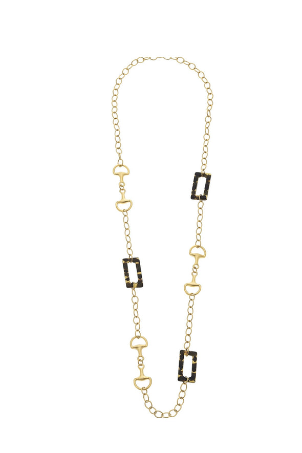 Susan Shaw Gold Horsebit & Tortoise Chain Necklace