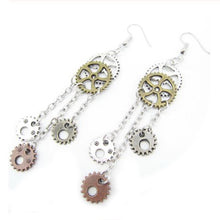 5 Gear Chain Dangle Earrings