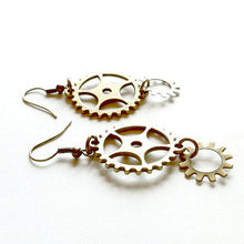 Big and Small Brass Gear Earrings