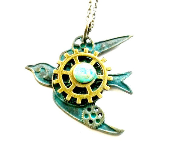 Bird Gear Necklace