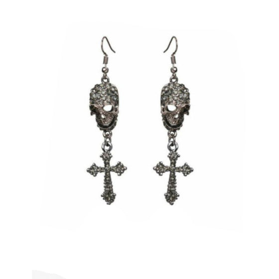 Black Skull Cross Dangles