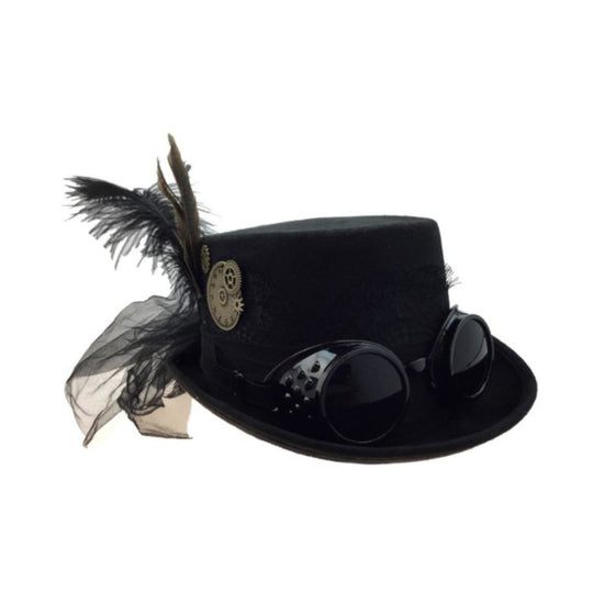4 Inch Decorated Riding Hat Black