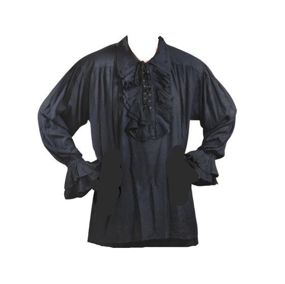 Black Ruffle Front Men's Shirt