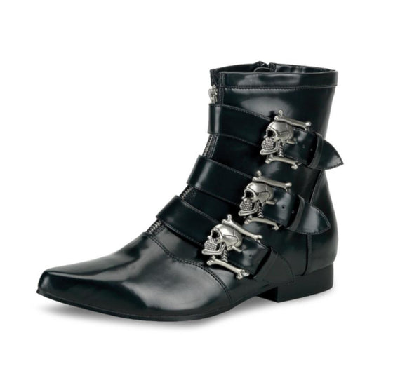 Mens Skull Buckle Boots