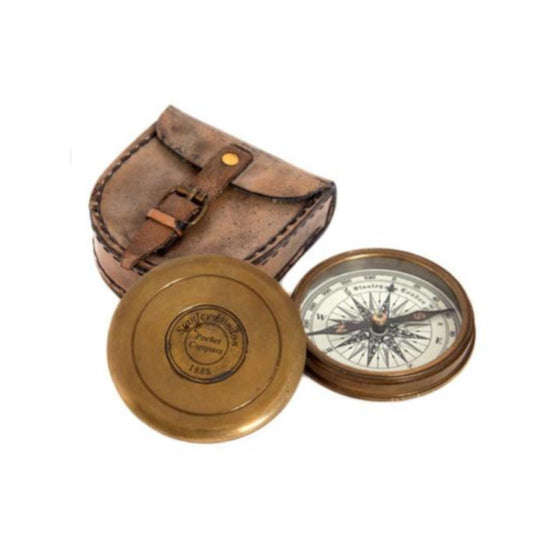 Brass Compass With Pouch