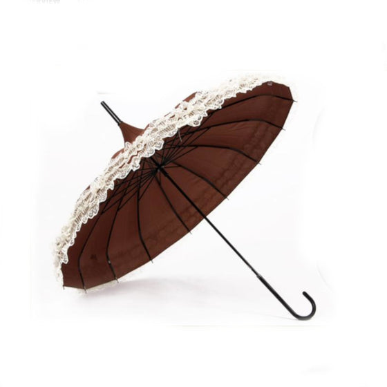 Lace Trimmed Parasol Brown