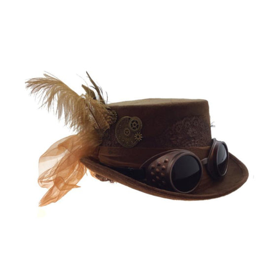4 Inch Decorated Riding Hat Brown