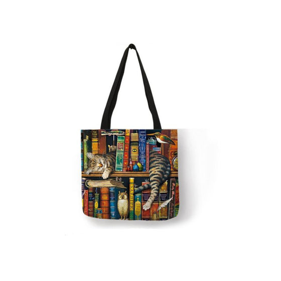 Canvas Tote Bag-Cat With Books
