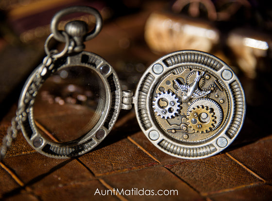 Bird and Gears Locket Necklace