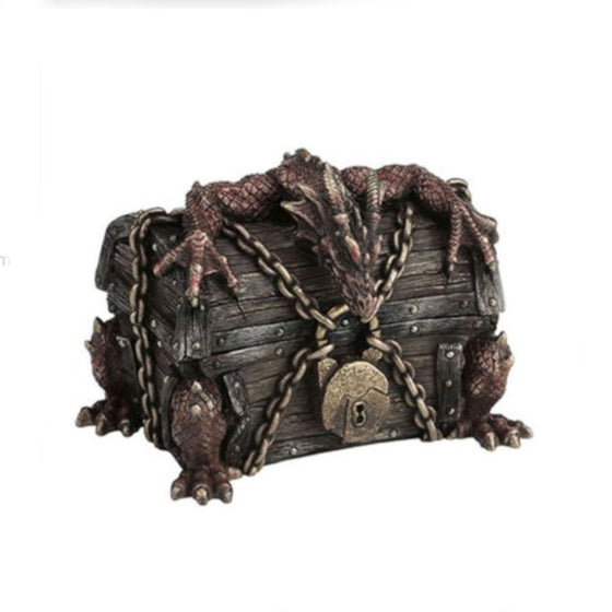 Dragon Breaking Out Of Chained Chest - Trinket Box
