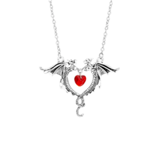 Double Dragon Heart Necklace