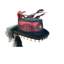 Gothic Top Hat With Burgundy Trim