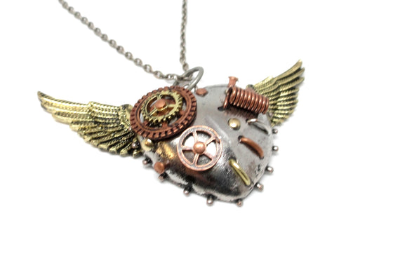 Steampunk Mended Heart Necklace