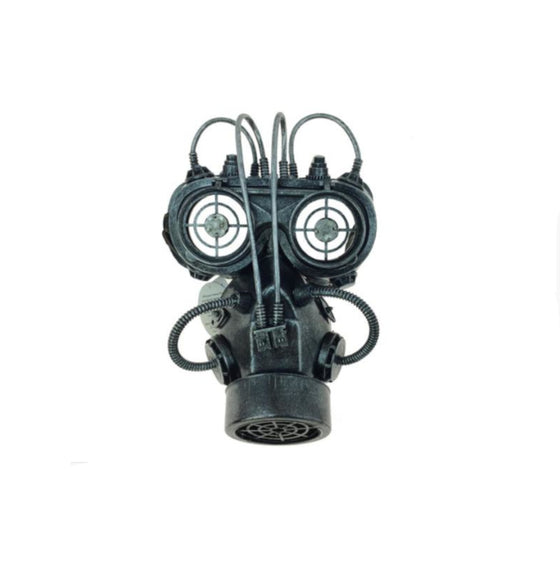 Lighted Gas Mask with Goggles Pewter