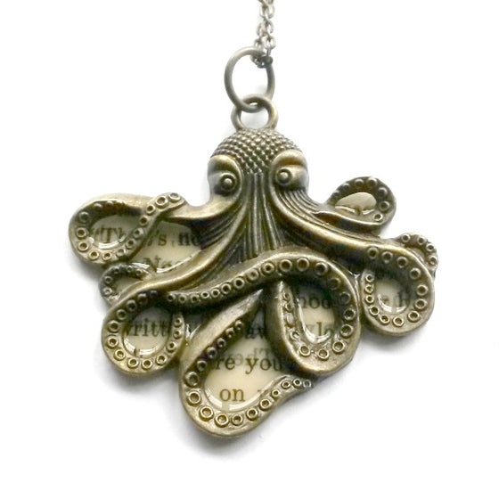 Octopus Text Necklace Brass