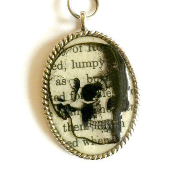 Oval Steampunk Skull Text Necklace