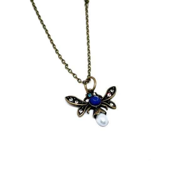 Pearl Rhinestone Flying Insect Necklace