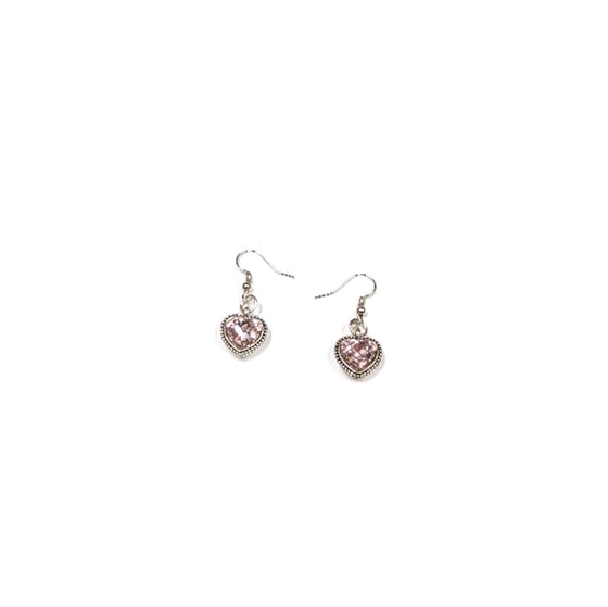 Pink Crystal Heart Dangles