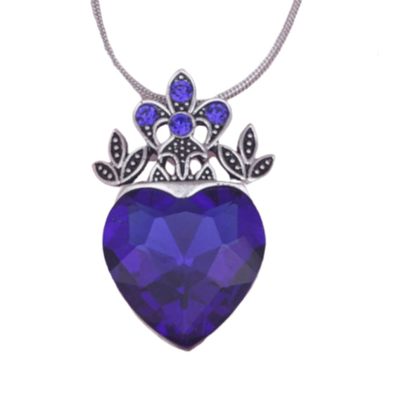 Blue Princess Heart Crystal Necklace