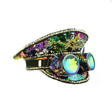 Rainbow Sequin Captains' Hat w Goggles