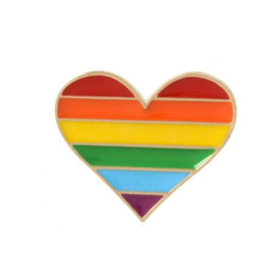 Rainbow Heart Tack Pin