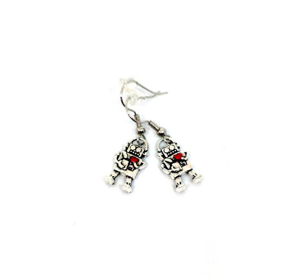 Red Heart Robot Earrings