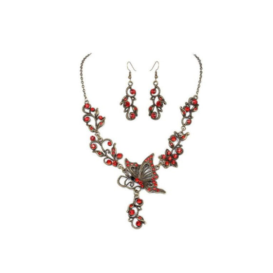 Butterfly Necklace Set Red And Brass