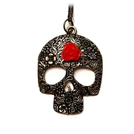 Sugar Skull Red Rose Necklace