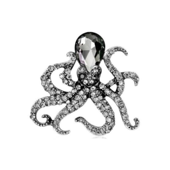 Mini Black Octopus Pin