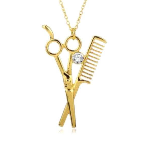 Shears and Comb Necklace Gold