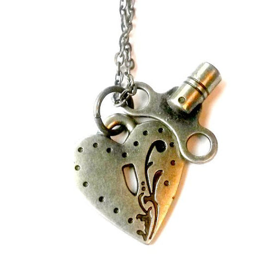 Silver Skate Key Heart Lock Necklace
