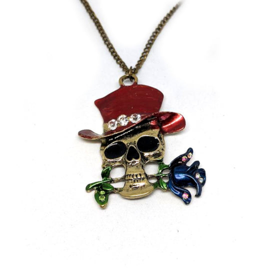 Skull Red Hat Necklace