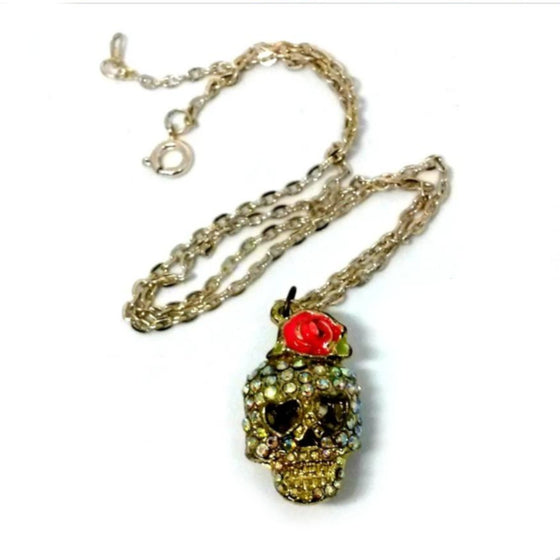 Rhinestone Skull Necklace With Rose