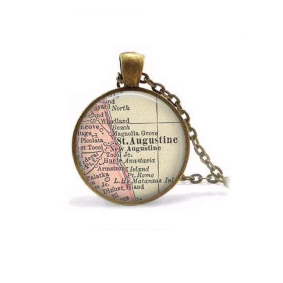 St. Augustine Map Necklace