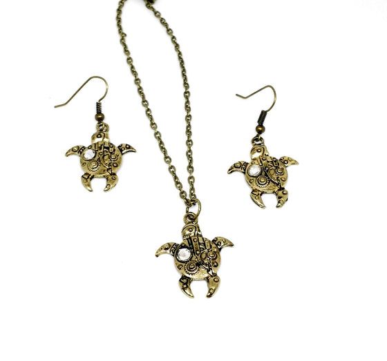 Steampunk Turtle Jewelry Set