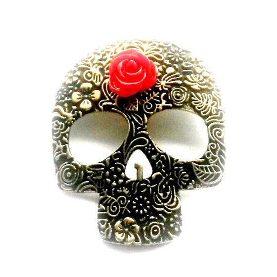 Sugar Skull Red Rose PIn