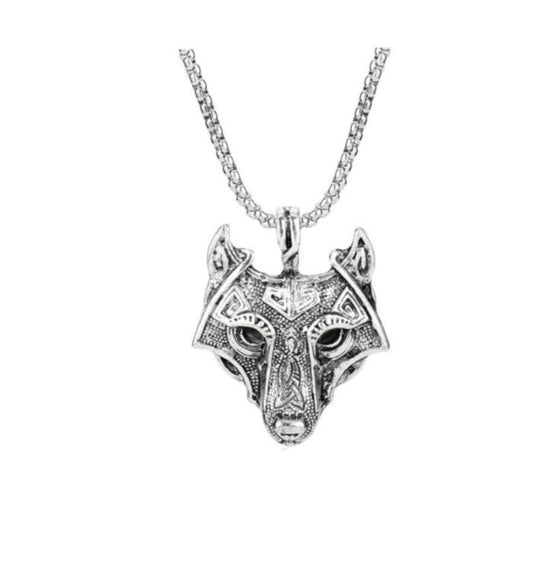 Black Eyed Wolf Head Necklace