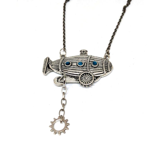 Airship Necklace with Gear Necklace