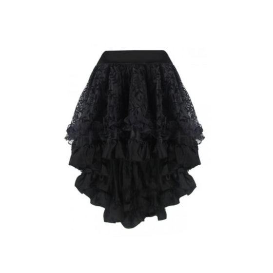 Black Shear Leaf Pattern Hi Low Skirt
